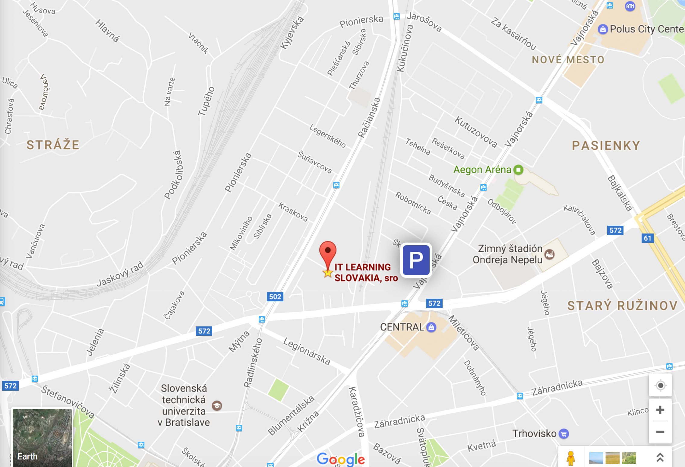 Mapa IT LEARNING - najlepšie kurzy v Bratislave
