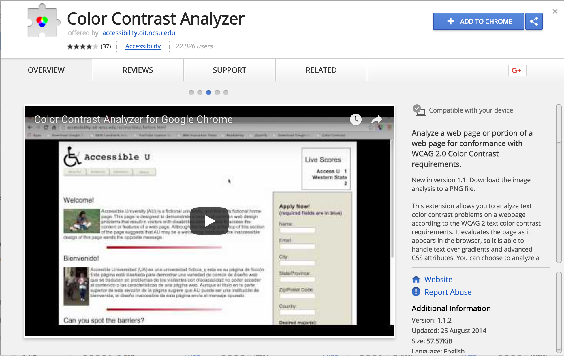 Printscreen Colour Contrast Analyzer