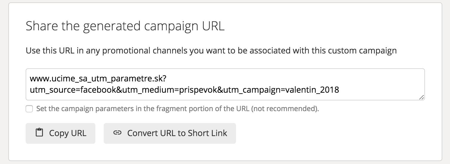 Vygenerovaná UTM URL adresa