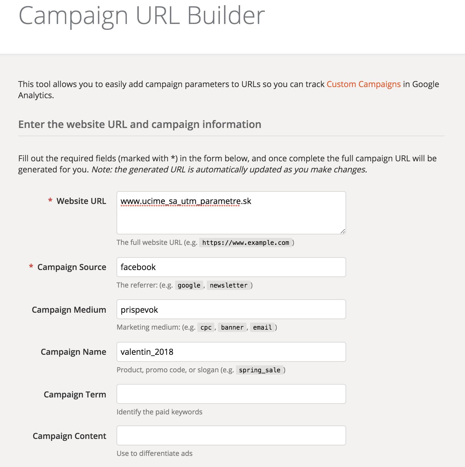 UTM builder kampane