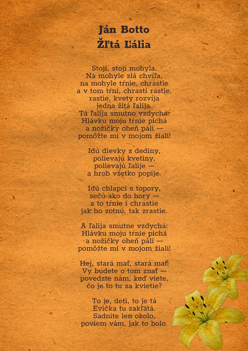 Text básne Žltá ľalia upravený vo Photohshope