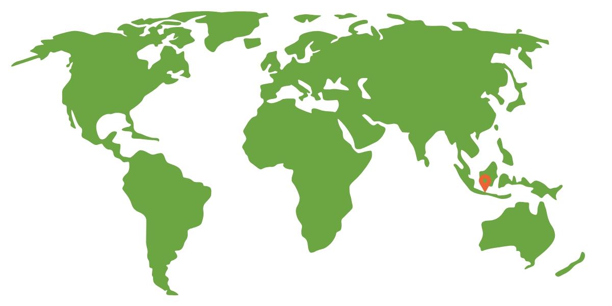 mapa sveta s vyznačením ostrova Jáva