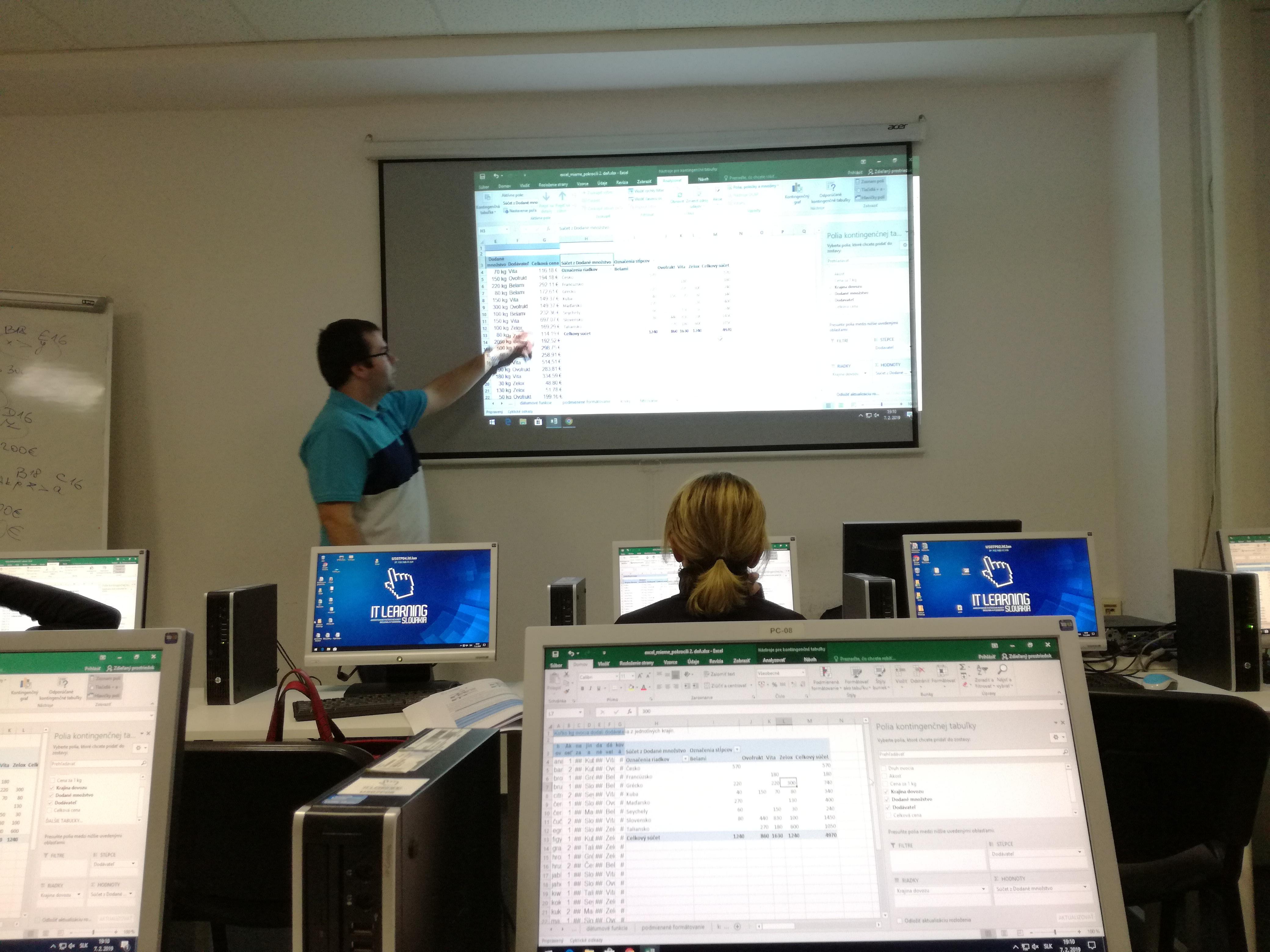 Kurz Excel II. - priebeh kurzu