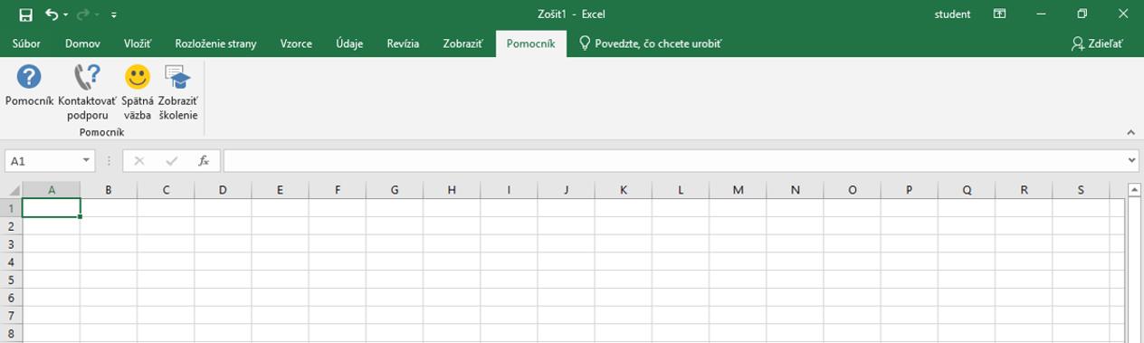 Excel 2019 - nová karta menu Pomocník a jej obsah