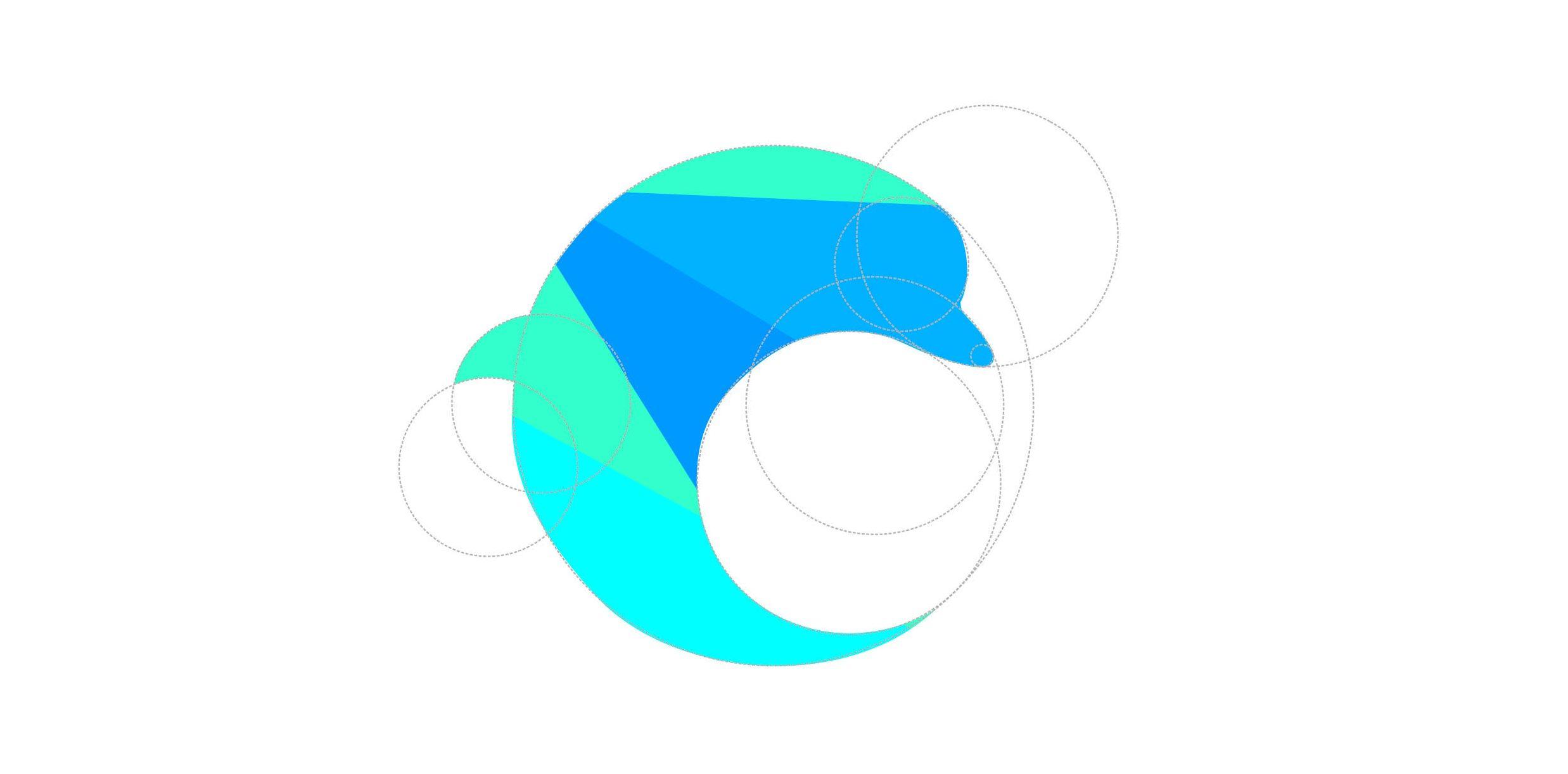 ako spraviť logo - logo-design delfína vytvorený pomocou sústavy kružníc
