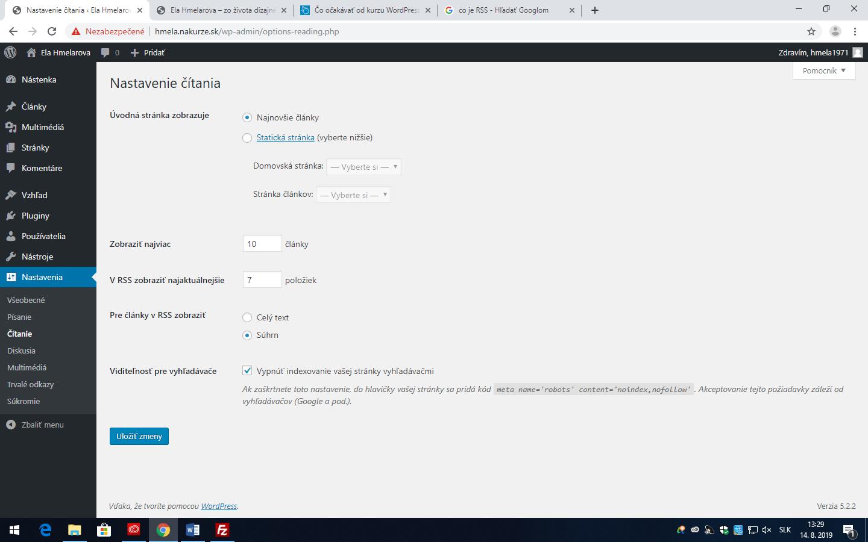Wordpress - nastavenie pravidiel číitania