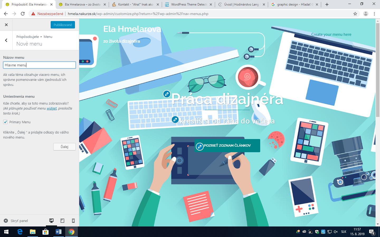 Wordpress - nastavenie hlavného menu v časti vzhľad stránky