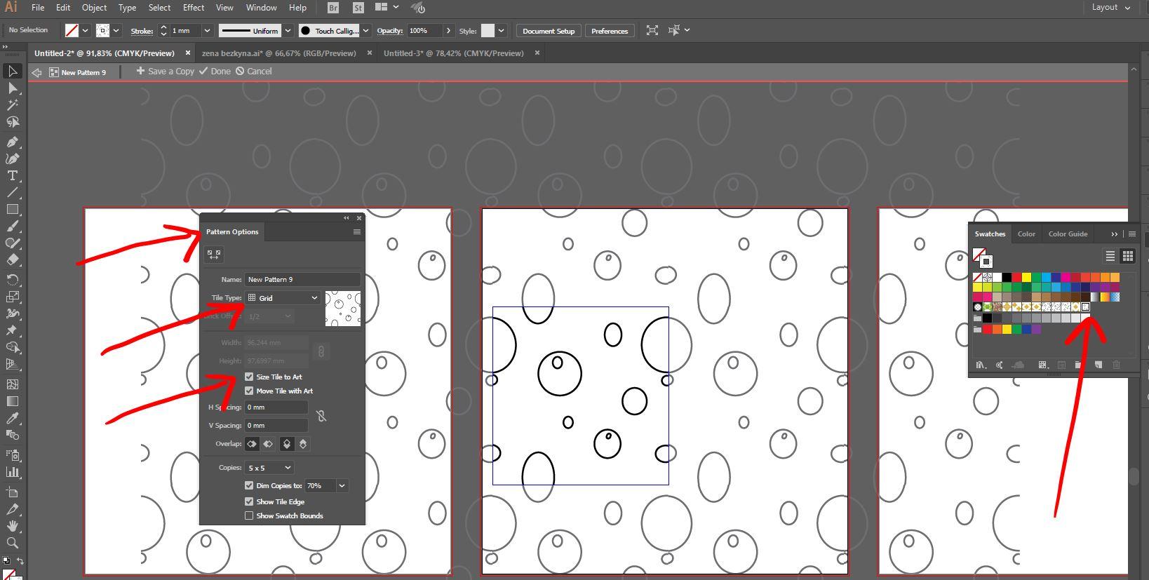 ako vyzerajú možnosti vyseknutia a opakovania vzoru štvorcom v Illustratore