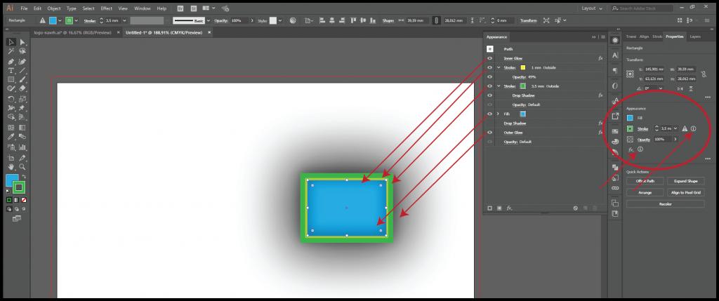 viacnasobny ťah uplatnený na objekte v Adobe Illustrator1