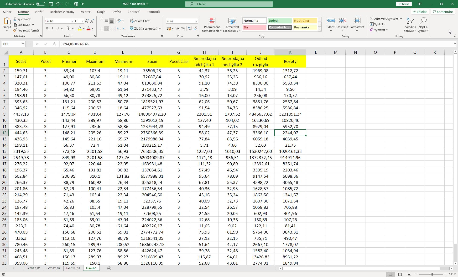 výsledok zlučovania v Exceli