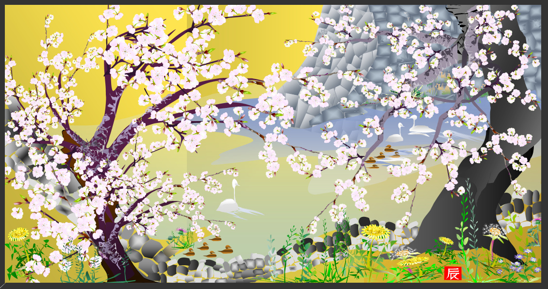 Čerešňové kvety na zámkuJogo (2006) - Tacuo Horiuči (obraz)