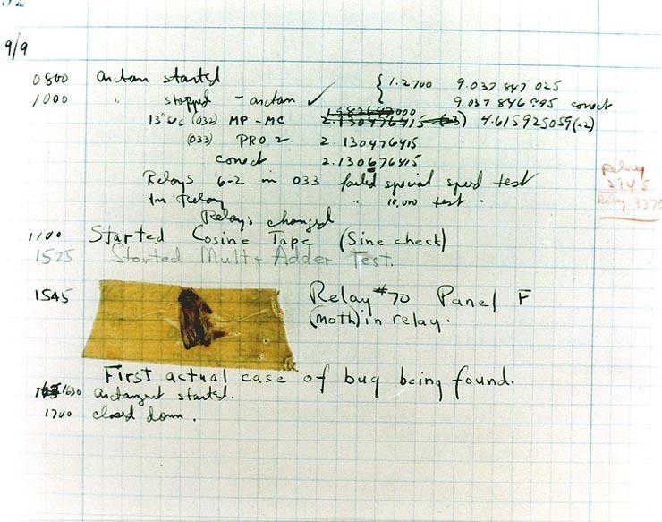 prvý zaznamenany bug v historii