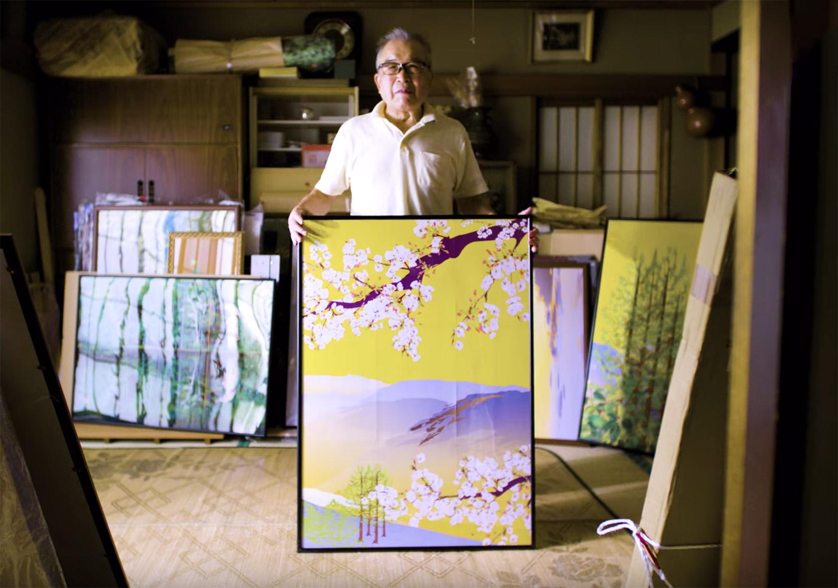 Japonsky umelec Tacuo Horiuci so svojim obrazom nakreslenym v Exceli