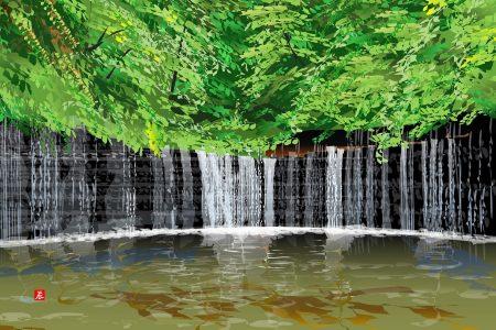 Vodopády Širaito - Tacuo Horiuči (obraz)