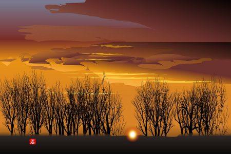 Západ slnka 1 - Tacuo Horiuči (obraz)