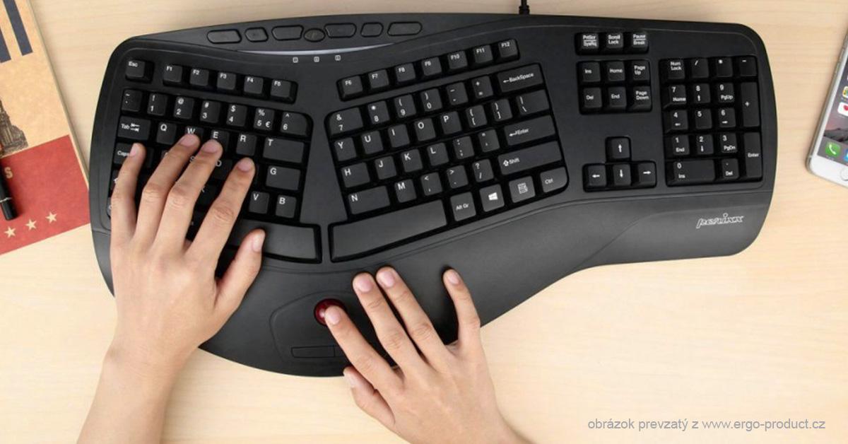 Ergonomická klávesnica so zabudovaným trackballom