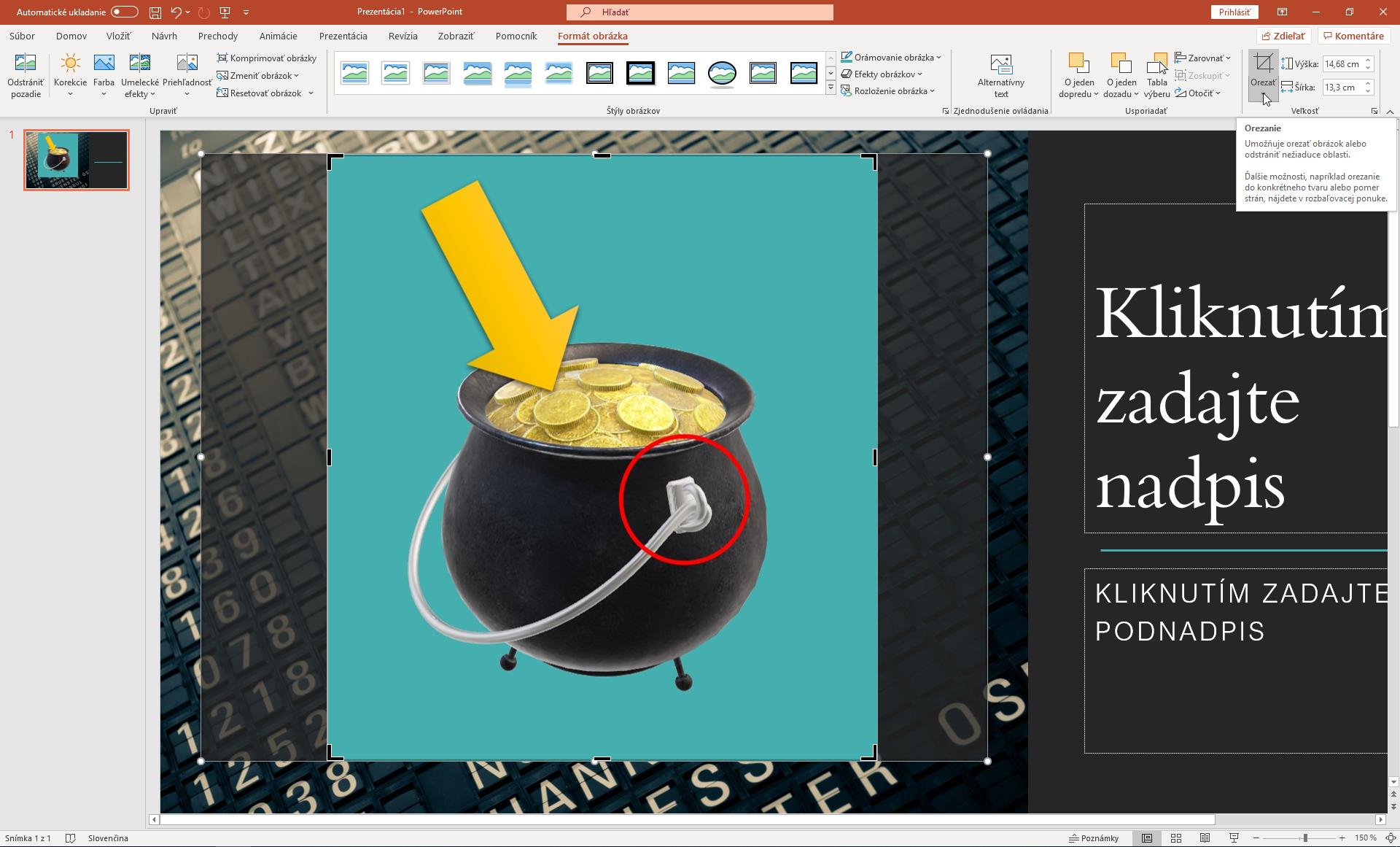 Orezové značky na nastavenie orezania obrázka v PowerPointe