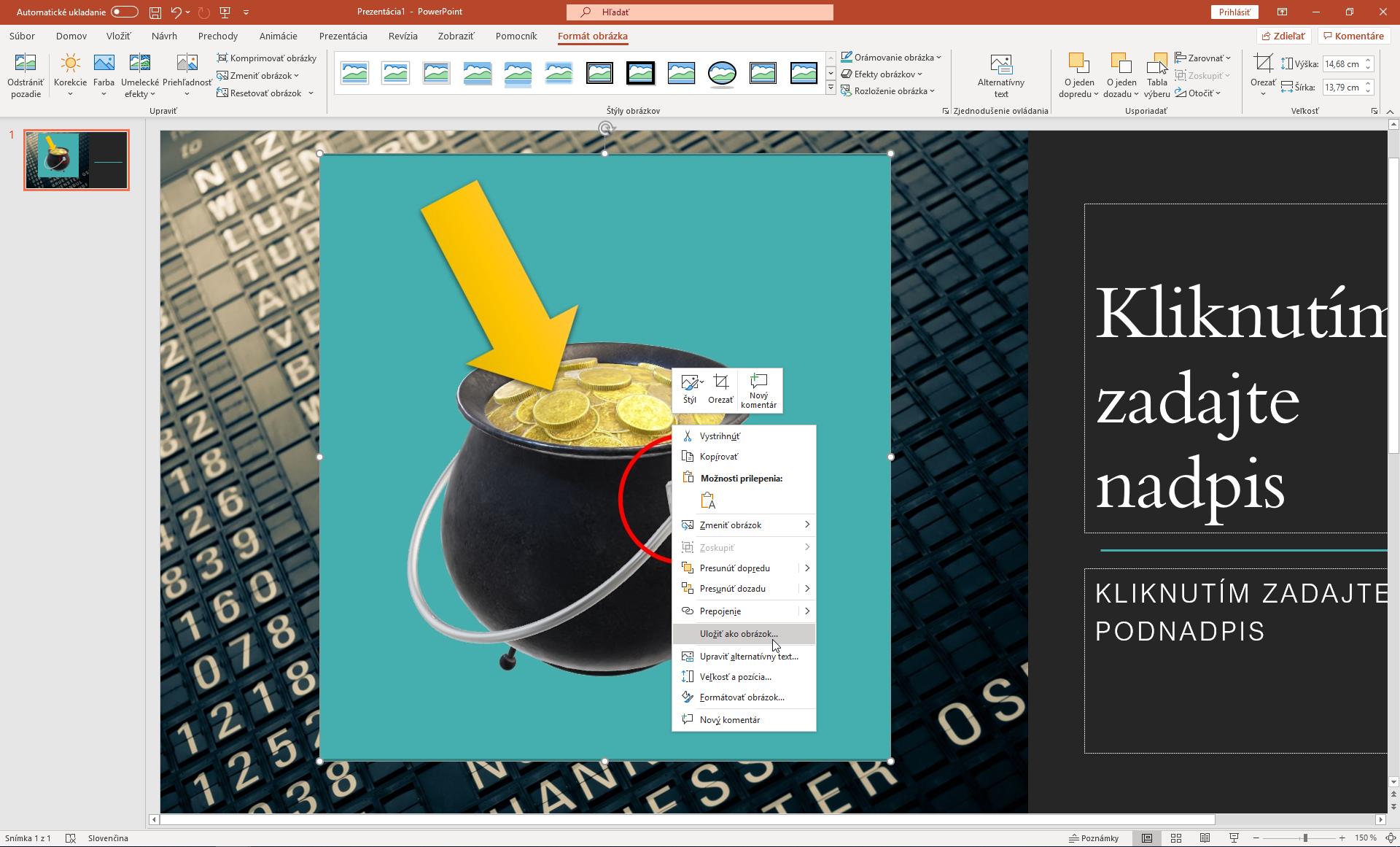 Ulozenie upraveneho obrazku je v PowerPointe jednoduche