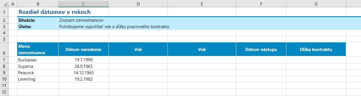 výpočet veku v Exceli - východzia tabuľka