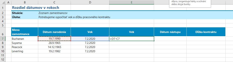ako počítať v Exceli vek - ľahký vzorec