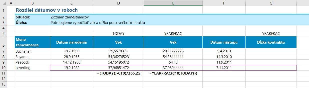 výpočet rokov pomocou funkcie YEARFRAC v Exceli