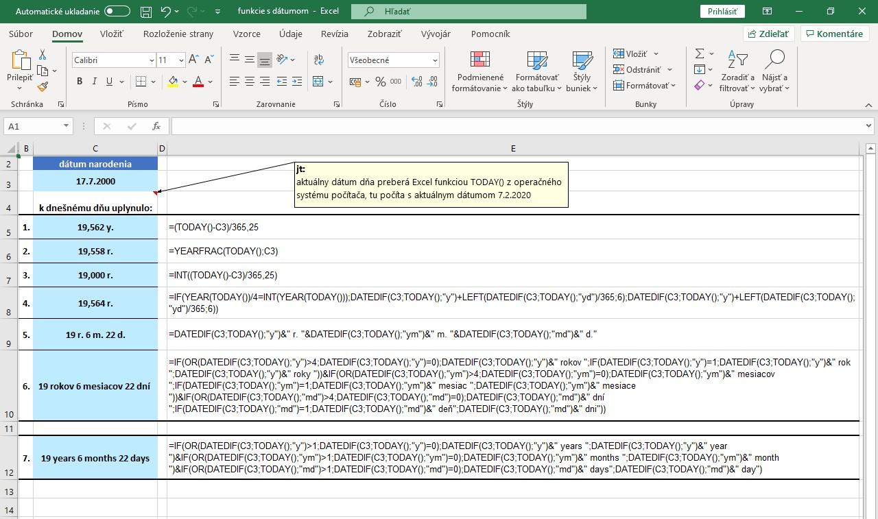 rôzne spôsoby výpočtu veku v Exceli