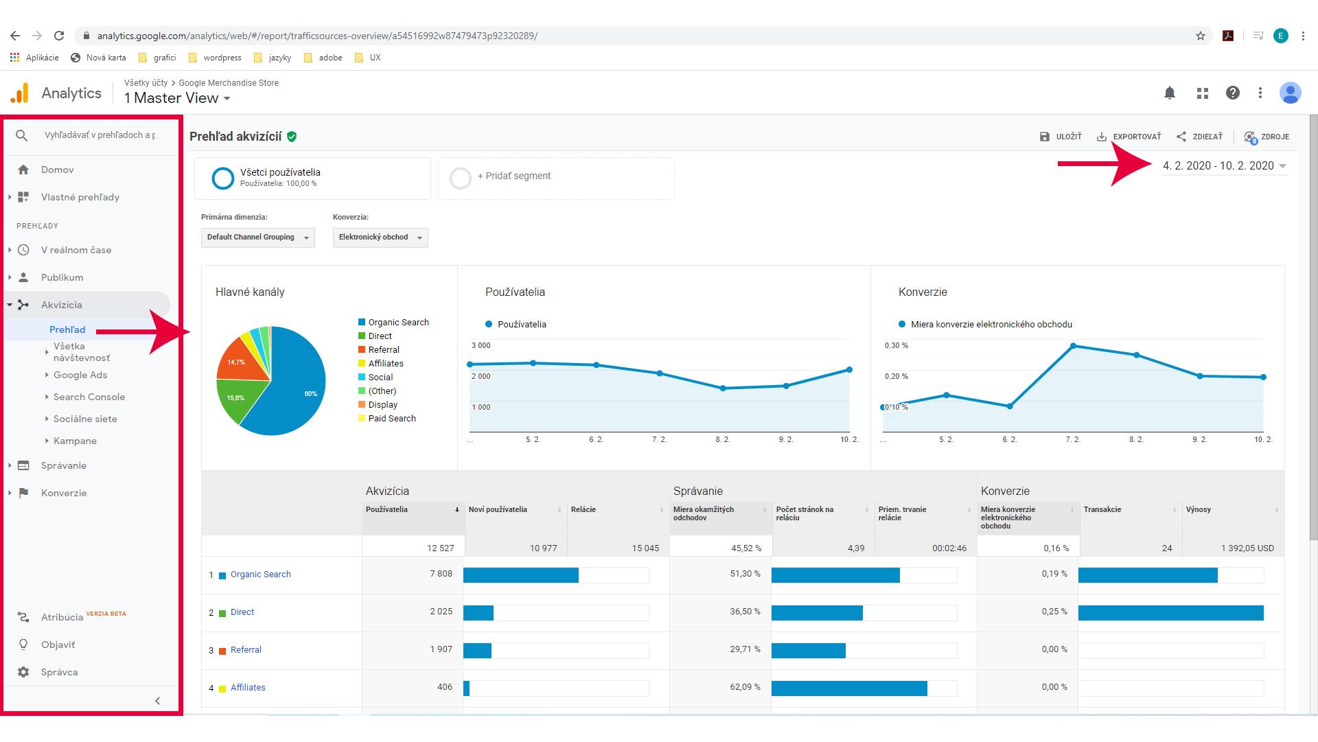 Prehľad akvizícií v Google Analytics