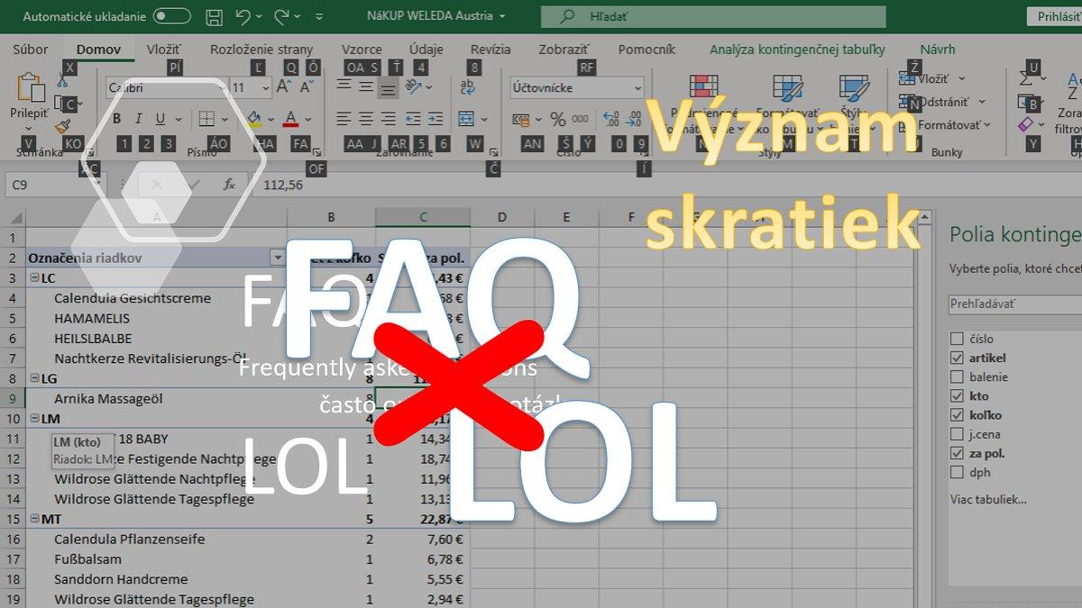 Klávesové skratky v Exceli - komplexne -titulka