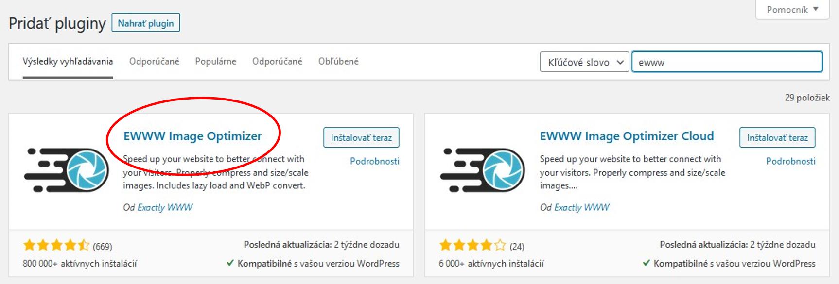 V ponuke wordpressu nájdete 2 pluginy, z popisu viete, ktorý vybrať Inštalovať a následne aktivovať.