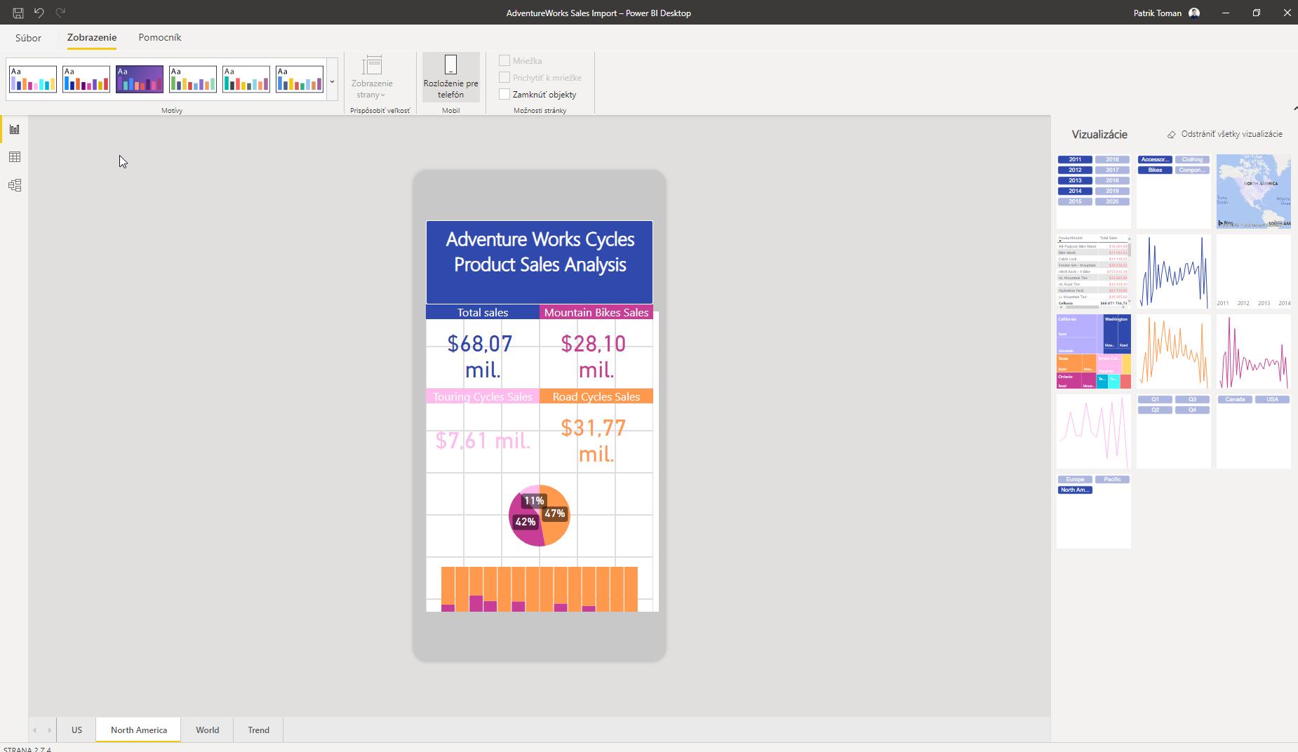 Power BI - vizualizácia vzhľad reportu v mobilnom telefóne