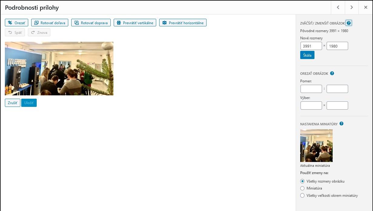 WordPress nie je majstzer na upravovanie fotiek, čo vidno aj z rozhrania v multimediálnej galérii