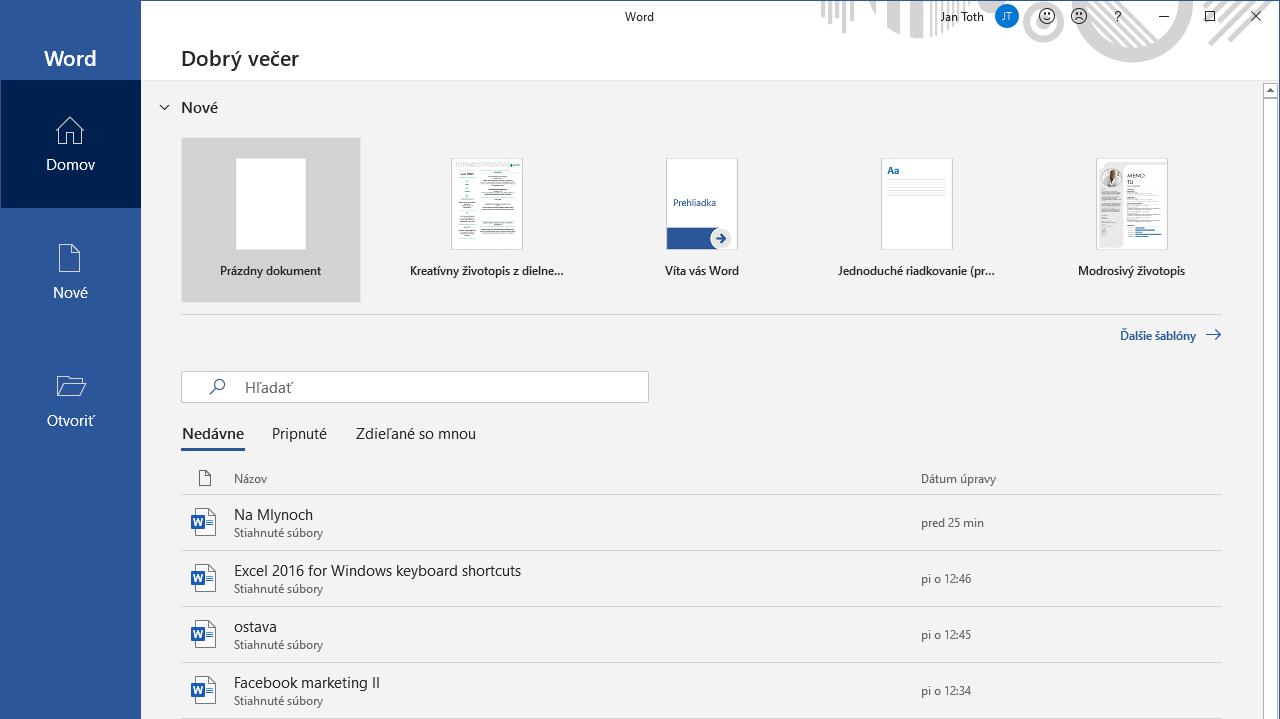 Tipy a triky Word - šablóny nielen na životopis po otvorení cez OS Windows