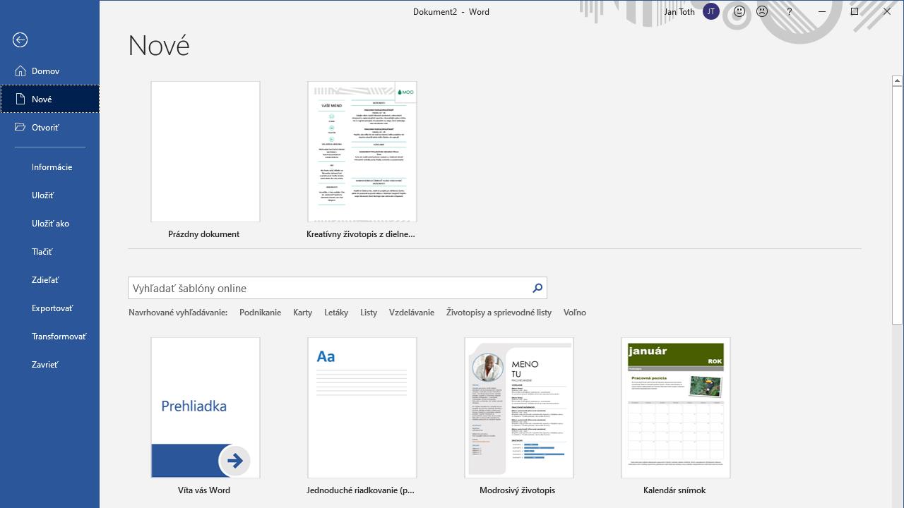 Tipy a triky Word - prehľad šablón po otvorení z Wordu cez Súbor - Nové