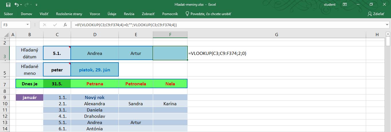 funkcia vlookup v exceli - jednoduchý príklad použitia