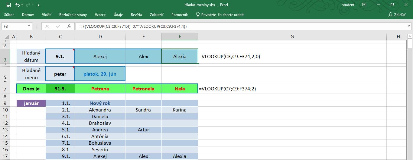 funkcia vlookup v exceli - jednoduchý príklad použitia pri hľadaní v kalendári
