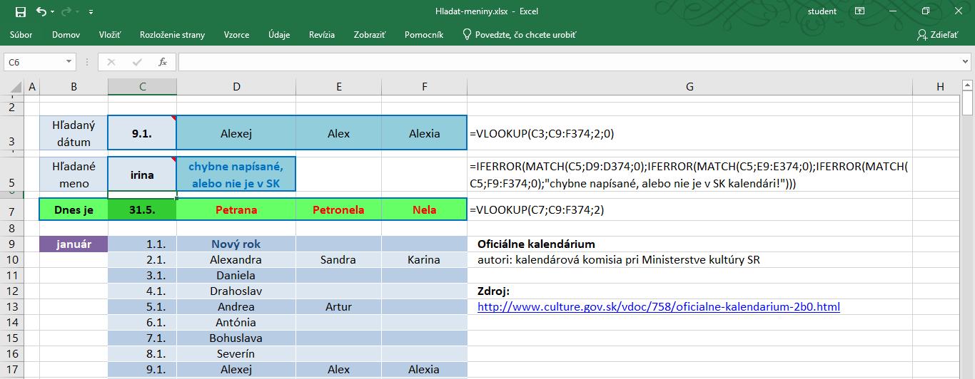 funkcia vlookup v exceli - príklad použitia pri hľadaní funkciou MATCH