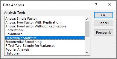 štatistika v Exceli - okno pre výber typu analýzy dát - Data Analysis