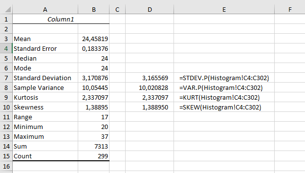štatistika v Exceli - kurz - analýza údajov, popisná (deskriptívna) štatistika - výstup v angličtine