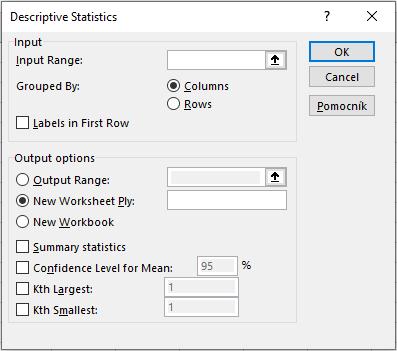 štatistika v Exceli - okno pre nastavenie parametrov v Exceli pre výsledky Popisná štatistika
