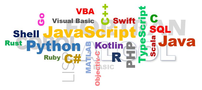 Top 5 programovacie jazyky 2020 - farebný oblak názvov 26 programovacích jazykov
