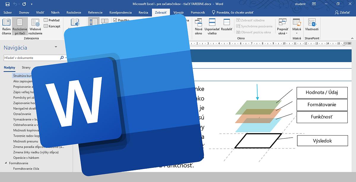 Word - tipy a triky - titulný obrázok, v pozadí štruktúra bunky v príručke k Excelu