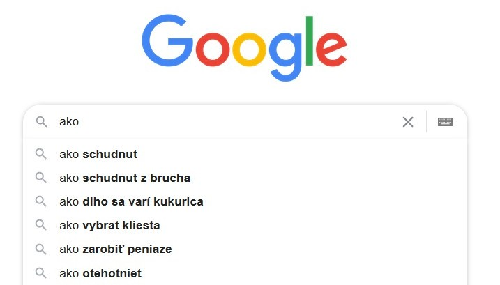 Návrhy hľadania kľúčových slov v Googli
