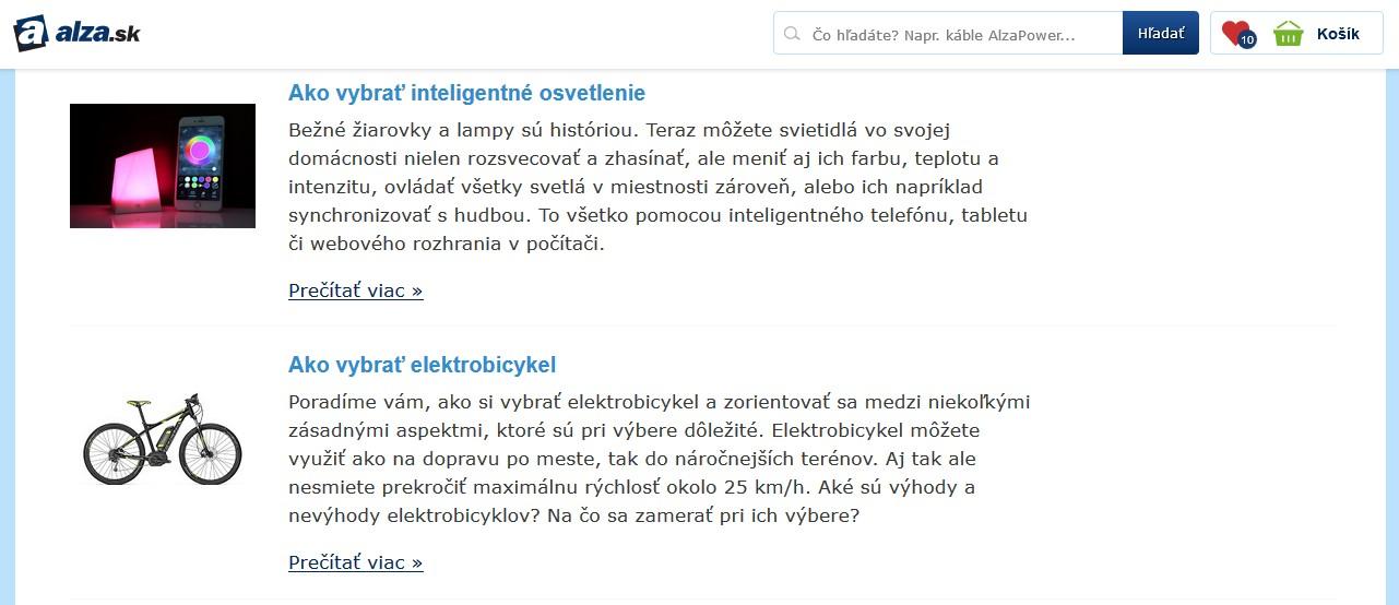 Foto stránky alza.sk s návodmi ako si vybrať konkrétny produkt