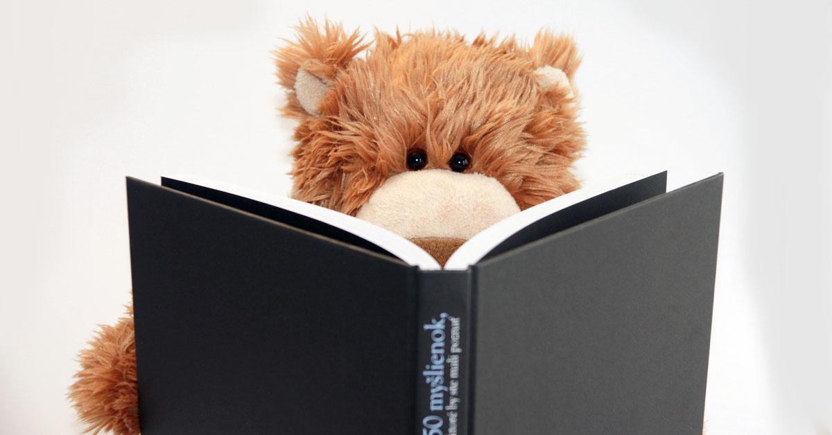 Plyšový medvedík si číta knihu