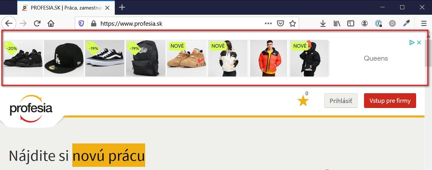 Ukážka bannerovej reklamy na stránke profesia.sk