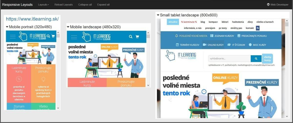 Testovanie responzívneho dizajnu v nástroji Web Developer Tool