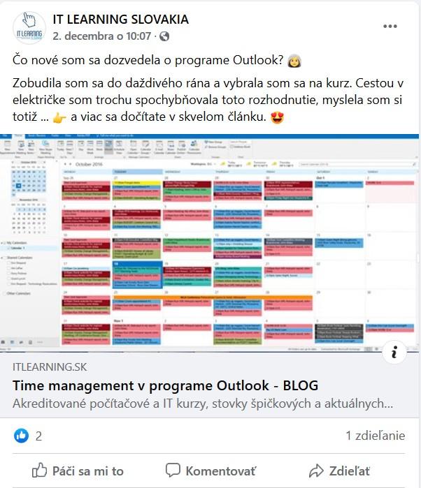 Zdieľanie článku aj na Facebooku IT Learning