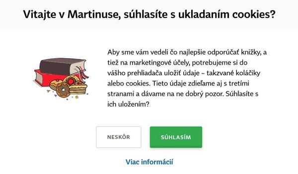 Vyskakovacie okno s informáciou o ukladaní cookies na stránke www.martinus.sk