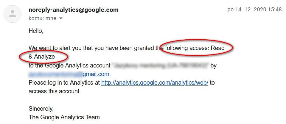 Automatický e-mail z Google Analytics s informáciou o type prístupu k účtu.