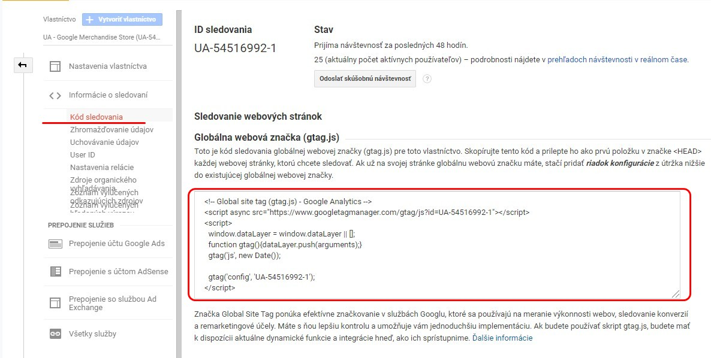 Kód sledovania demo účtu Google Merchandise Store